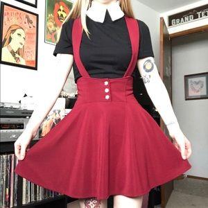 Dresses & Skirts - Burgundy suspender skirt